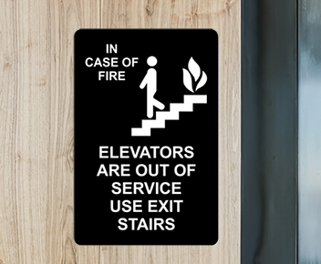 engraved fire safety sign