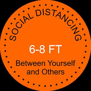 Round Orange Social Distancing Floor Decal