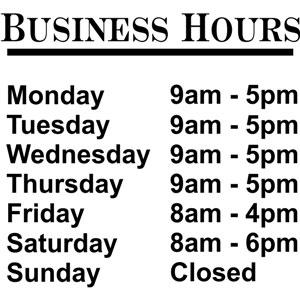 Business Hours Die Cut Vinyl Decal