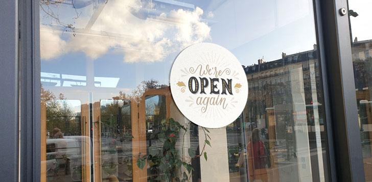 We're open again vinyl sign